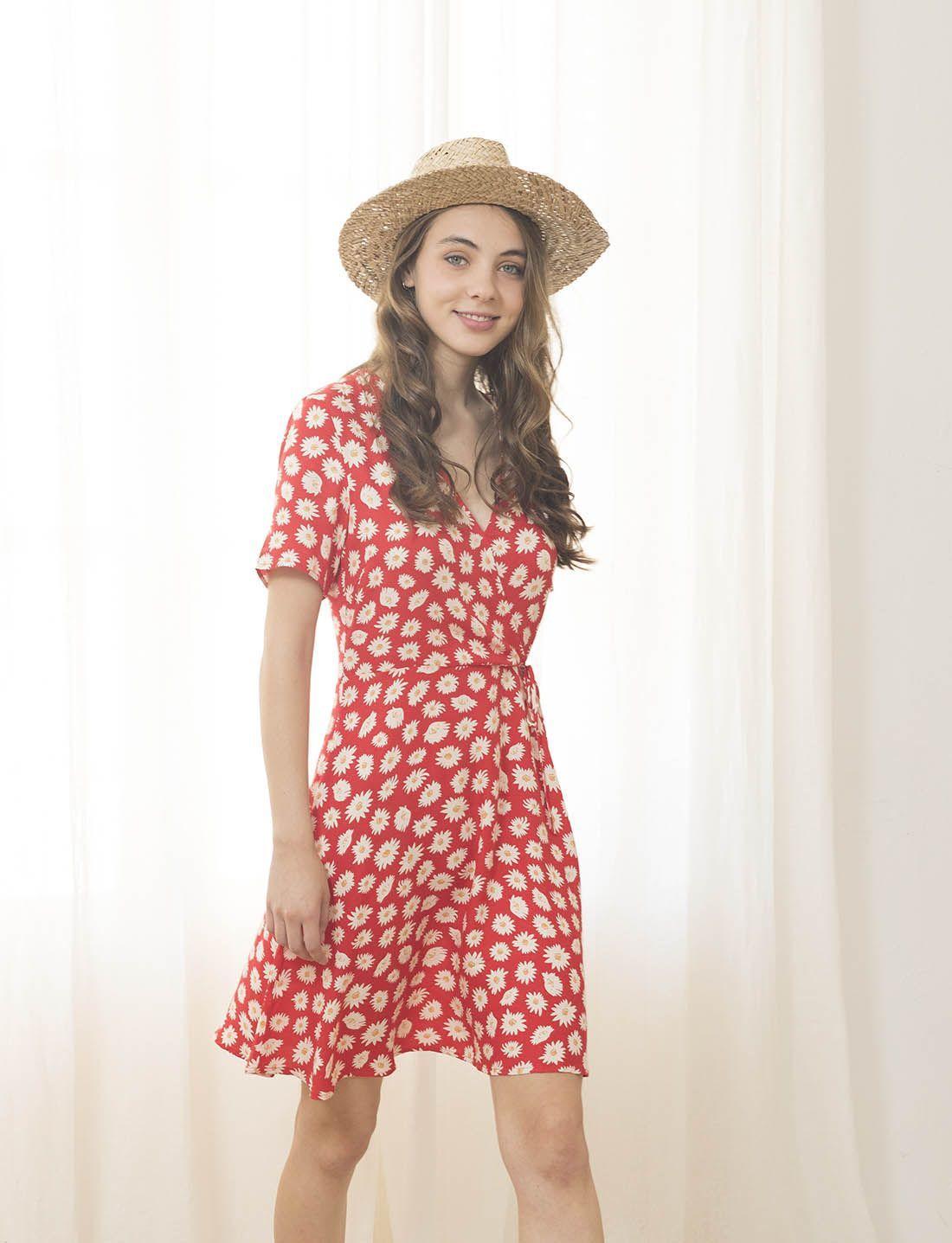 Vestido Rojo Corto Effy Estampado Cruzado Lifestyle Kenay
